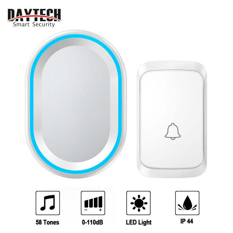 [NEW]DAYTECH Wireless Doorbell DB10 Door Bell Waterproof IP44 300M Range 4 Volume 58 Tones Door Chime 1 Receiver With 1 Button For Home/Office9(Black/White)
