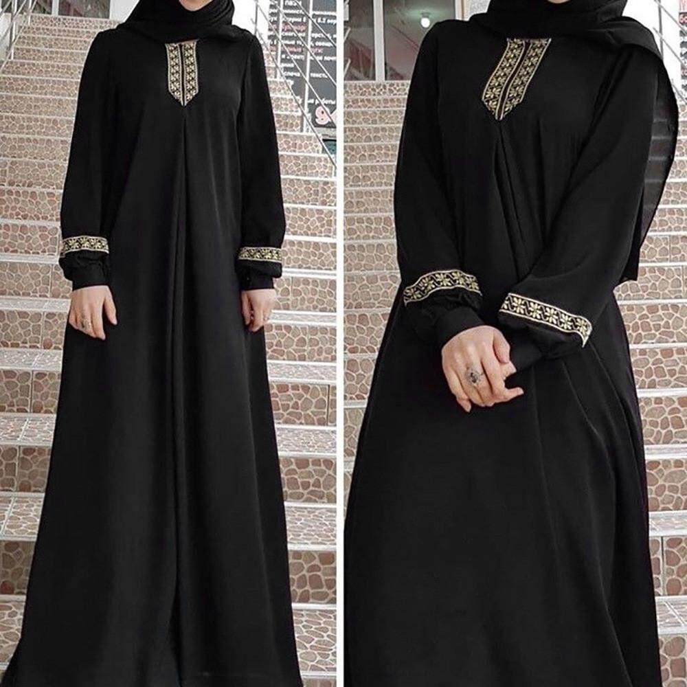 503b279d58758 Women Plus Size Print Abaya Jilbab Muslim Maxi Dress Casual Kaftan Long  Dress