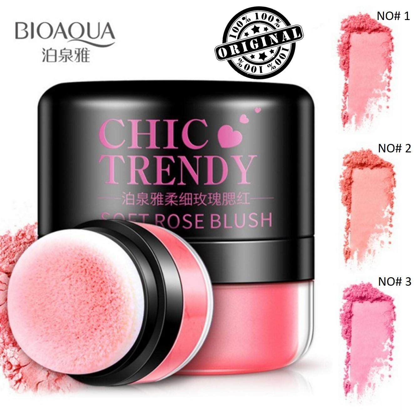 [ 100% Original ] Bioaqua Chic Trendy Blush Soft Rose Blusher Powder Easy Makeup Puff - 3 Colours By La Belle..