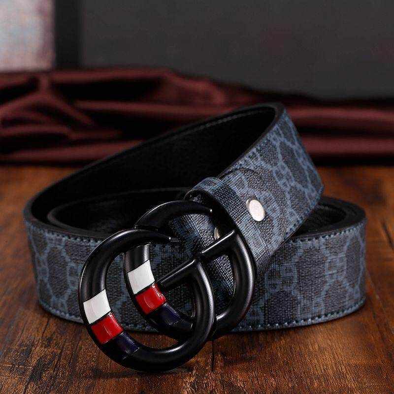 Original_Gucci belt men and women casual fashion double G printing belt leather belt