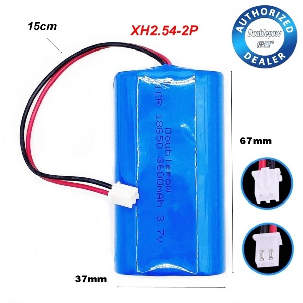 Doublepow ICR 18650 3600mAh 3.7V Li-ion Battery with Protection Board XH2.54-2P Wire Plug (2battery)