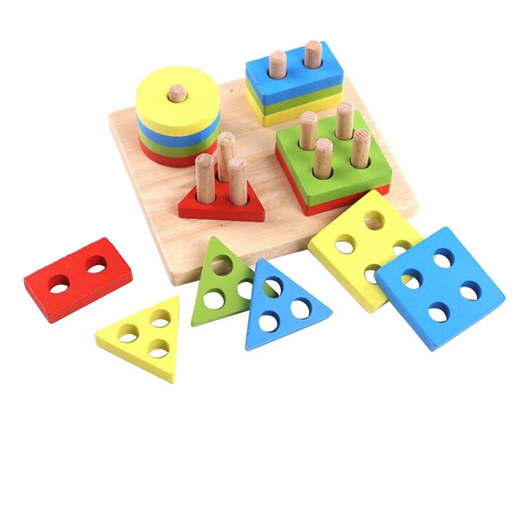 Perfk Preschool Kids Wooden Geometric Sorting Board Building Blocks E
