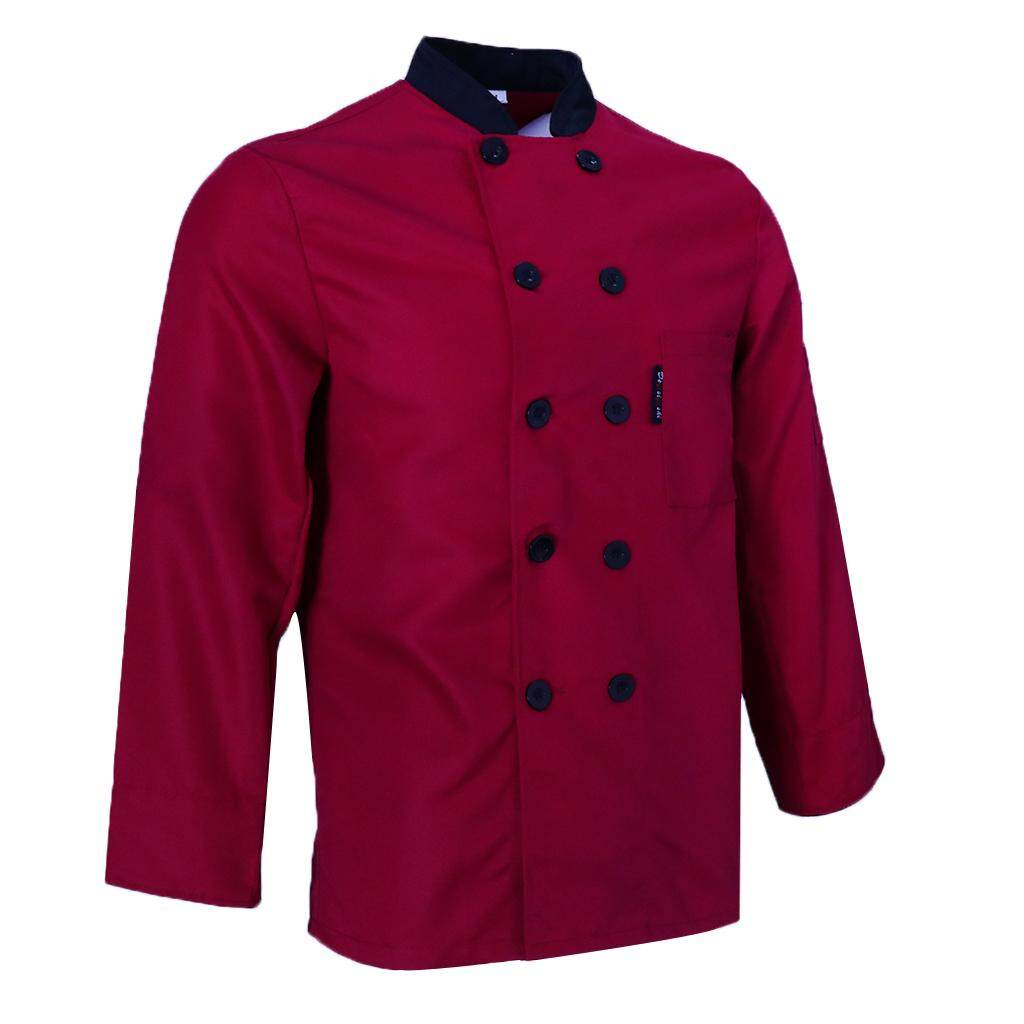 Fenteer Women Men's Chef Jacket Long Sleeves Food Service Uniform Black/Gray/Black M-3XL
