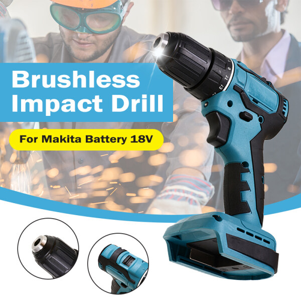 18V 90Nm 10mm Electric Cordless Brushless Impact Drill Screwdriver Rechargable DIY Power Tool For Makita Battery
