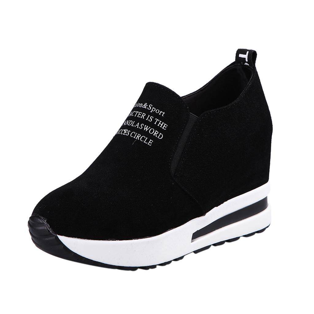 〖aihid Store〗women แฟชั่น Flock Slip - On พื้นสูงรองเท้ากีฬารองเท้าส้นสูง.