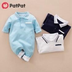 Patin Baby Boy Sơ Sinh Phong Cách Cotton Quý Ông Cổ Áo Polo Màu Trơn Dài Tay Jumpsuit Bộ Đồ Liền Thân Cho Bé Bore-z