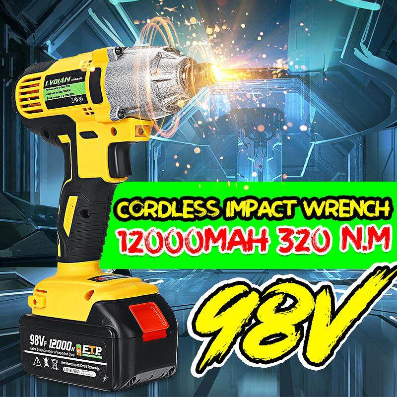 98VF 12000mAh 110-240V Cordless Electric Impact Wrench Drill Screwdriver 320 N.m