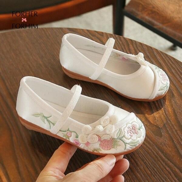 Giá bán Trang phục công chúa cho bé gái forher FORHIM Giày Vải thêu cho bé gái phong cách Trung Quốc màu trắng hồng xanh đỏ 6-10 tuổi giày Hanfu fh0653