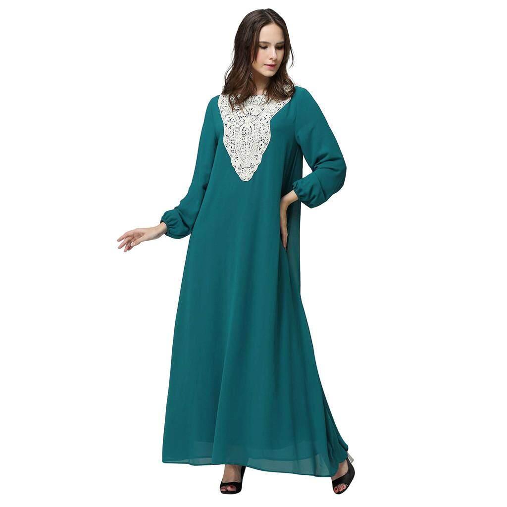 bb73cd67776 LiJiangangstore 2019 Women Long Maxi Dress Dubai Double Layer Loose Gown  Islam Abaya Muslim Clothing