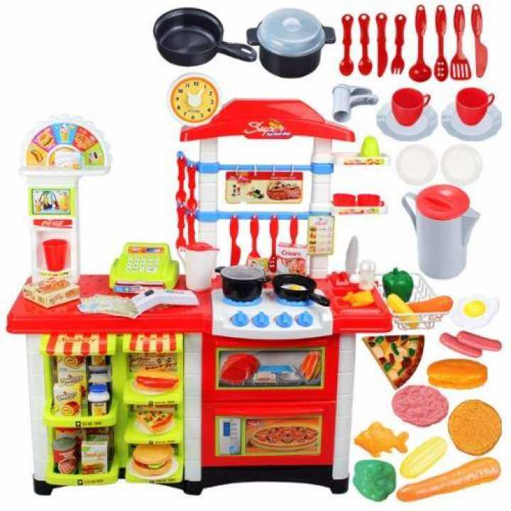 Big size 87cm kids kitchen play set extend size pink for Child size kitchen sets