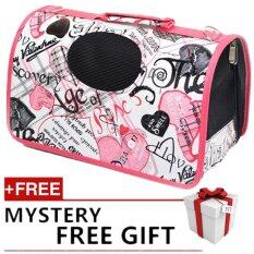 [big Size] Oxford Pet Carrier Bag Carry - Pink Love By P A F Pet Store.