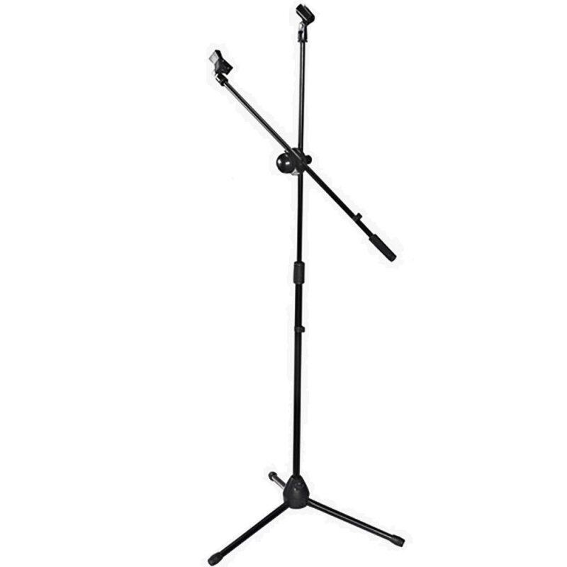 [USE VOUCHER 10% OFF] BLW STM01 Adjustable Telescoping Floor-type Tripod Boom Microphone Stage Stand w/mic holder (Black) Malaysia