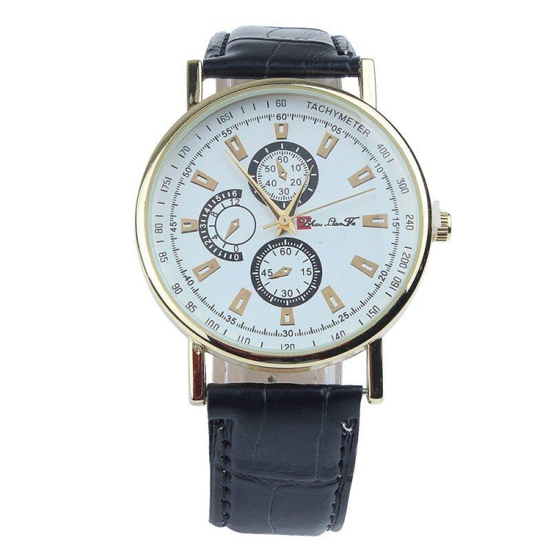 Business Watch 2016 Fashion Men PU Leather Three Eyes Quartz Watch Luxury Casual Wristwatch Relogio Masculino Clock (Black) Malaysia