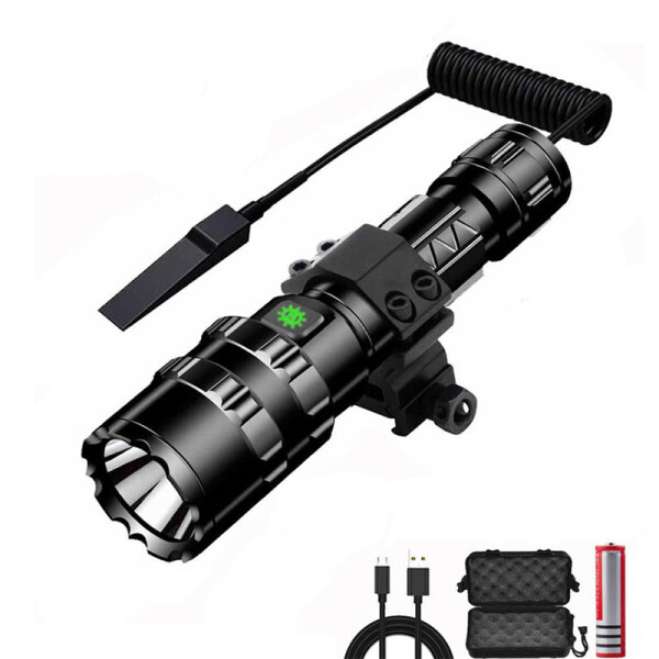 Đèn Pin Chiến Thuật XM-L2 1102W 1000 Lumen Siêu Sáng Có Thể Sạc Qua USB Đèn LED Chống Nước Với Pin 18650-Trắng Sáng Trắng