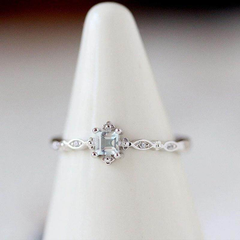 925 Silver Ring Natural White Topaz Jewelry Wedding Sunny  Engagement Size 6-10