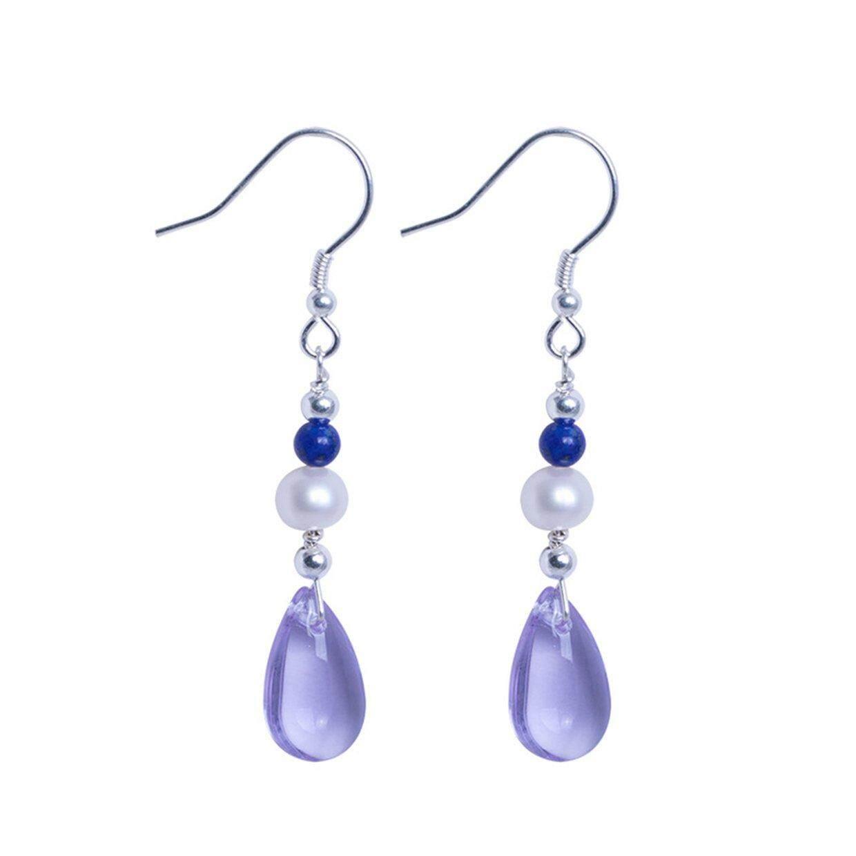 Cele S925 Bạc Ngọc Trai Tự Nhiên Mặt Đá Lapis Lazuli Bông Tai Nữ