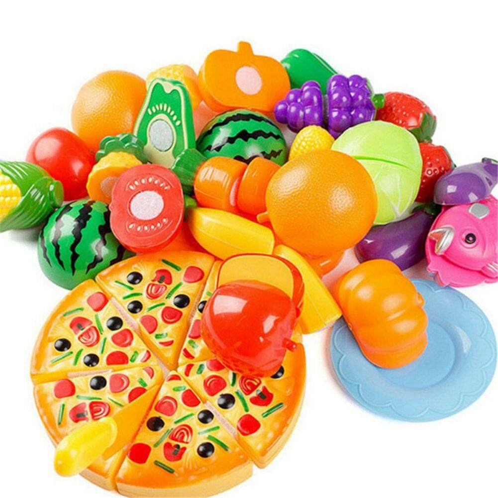 a6126d529544 24PCS Children Play House Toy Cut Fruit Plastic Vegetables Pizza Kitchen  Baby Kids Toys Educational Toys