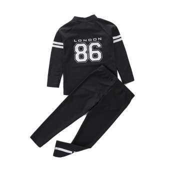 [2Pices] เด็กแยกชุดว่ายน้ำแขนยาว + กางเกงสีดำตัวเลขเด็กชุดว่ายน้ำสปาเสื้อผ้า