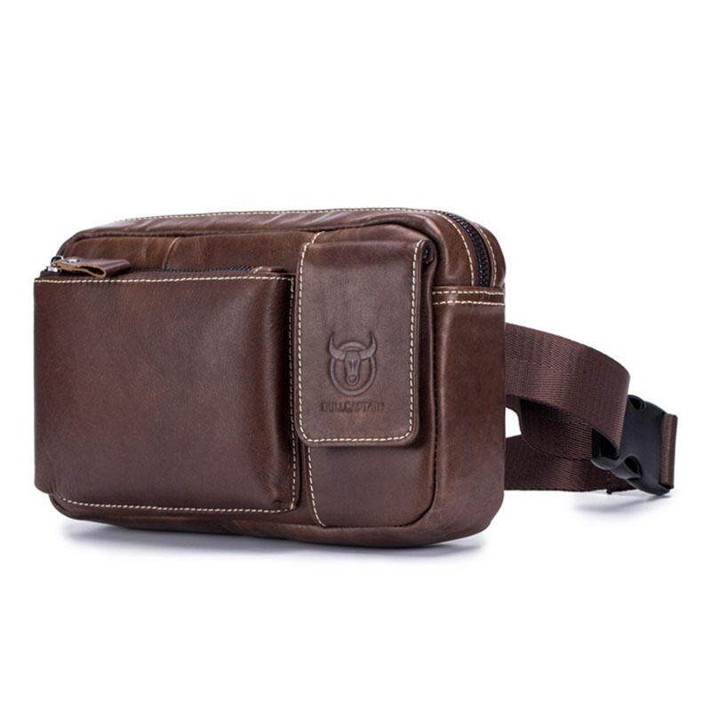 4fea37255f43 BULLCAPTAIN Genuine Leather malle Waist Packs Fanny Pack Phone Belt bag  Pouch Bum Hip Bag Belt