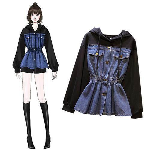 ba5b87613a4 Women Tunic Jacket Korean New Women Denim Coat Uniform Hooded Patchwork Jeans  Jacket Sportwear Plus Size