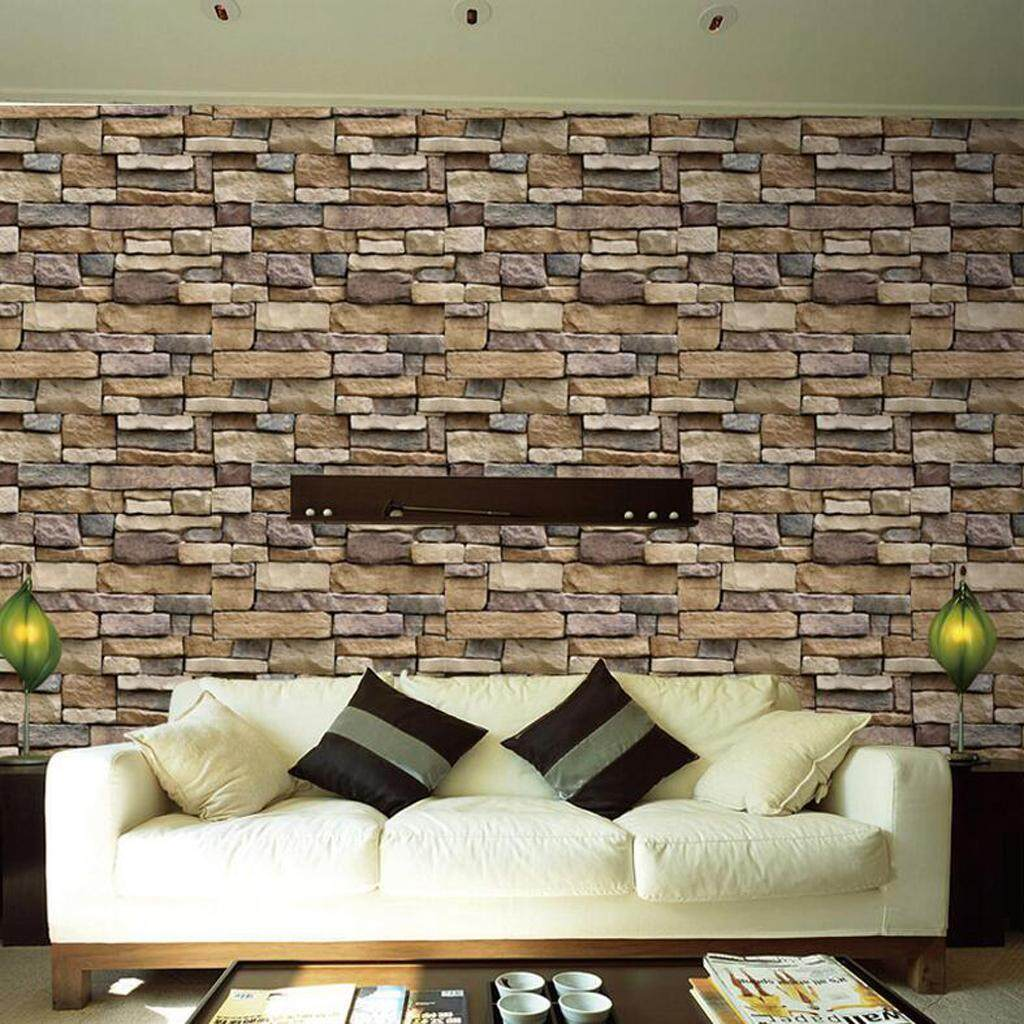 BolehDeals 12pcs 3D Stone Brick Self Adhesive Wall Paper Sticker DIY Art Home Decor