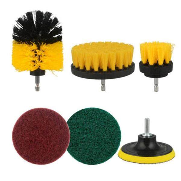6Pcs/Set Drill Brush Attachment Set All Purpose Power Scrubber Cleaning Cleaner Kit For Carpet Tile Polisher