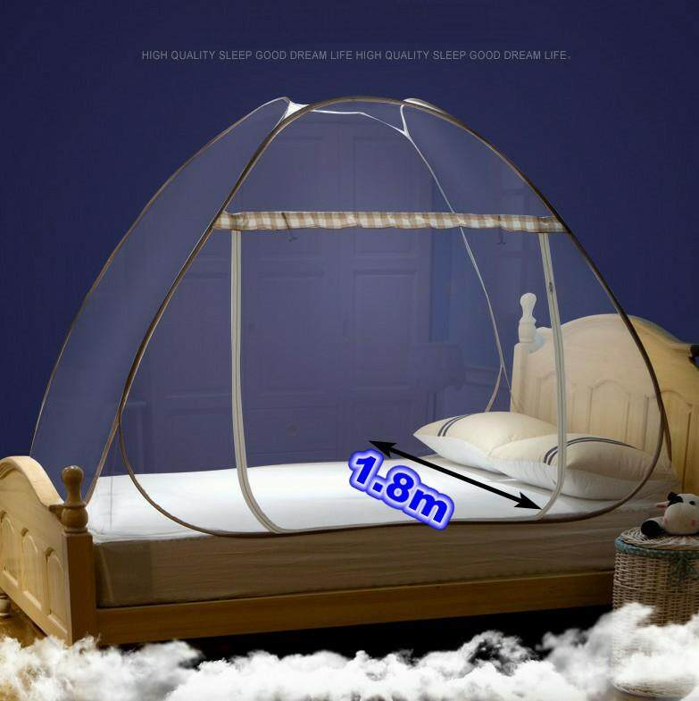 Household Bedroom Ensembles 1.8m Portable Folding Pop Up Automatic Mosquito Bed Net Canopy Curtains Insect Malaria Repellent Canopy Travel Camping Tent kid
