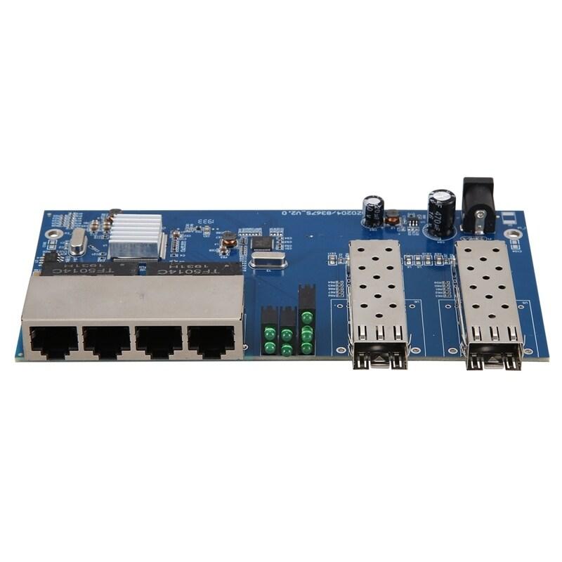 Bảng giá 10/100/1000M 4 RJ45 UTP and 2 SFP Fiber Port Fiber Optical Media Converter Gigabit Ethernet Switch Board PCBA Phong Vũ