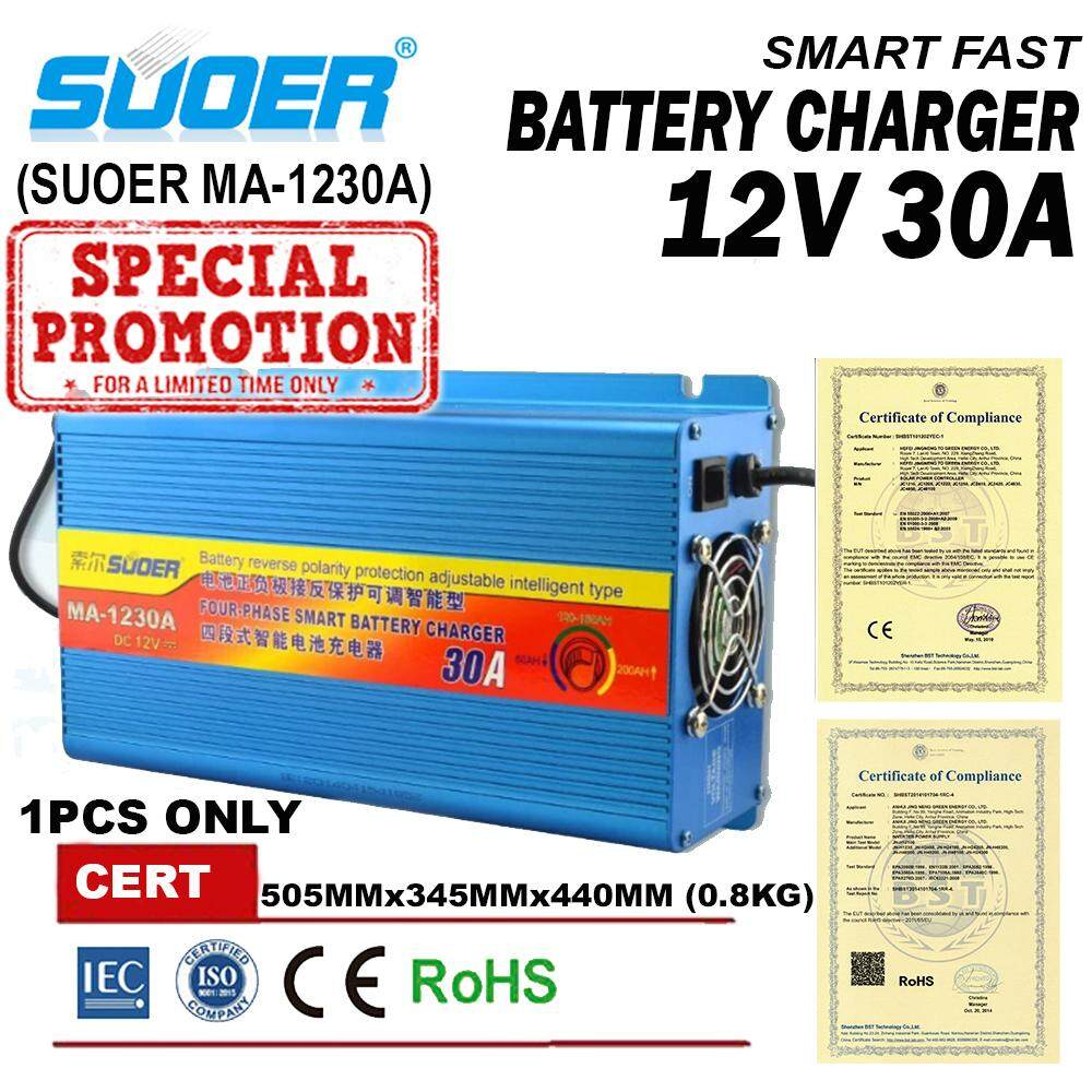 READY STOCK SUOER Four Phase 12V 30 Amp Universal Smart Car SLA Battery Charger Four-step charging mode MA1230A DC Adapter