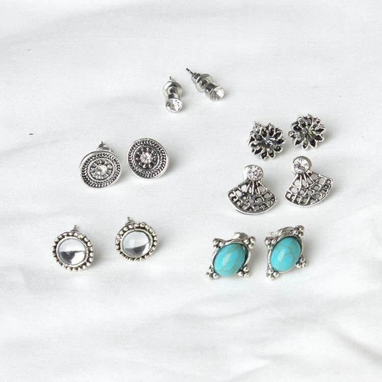 6 Pasang/set Anting-Anting Klasik Retro Rhinestone Telinga Stud Untuk Mode Untuk Wanita Aksesori Perhiasan Telinga By Funny Fairy World.