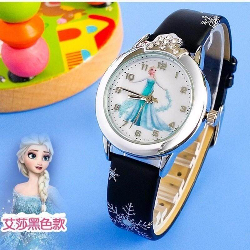 Girls Frozen Fashion Crystal Quartz Wrist Watch Faux Leather Band Malaysia