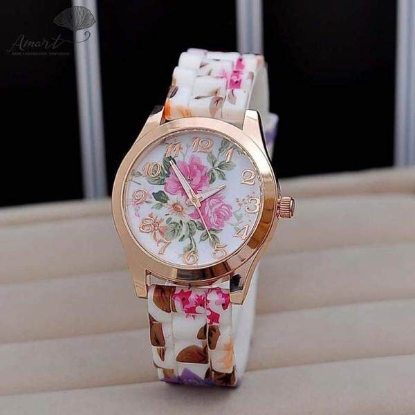 Amart Fashion New Silicon Strap Watch Beautiful Flower Porcelain Design Wristwatch Women Students Girls Malaysia