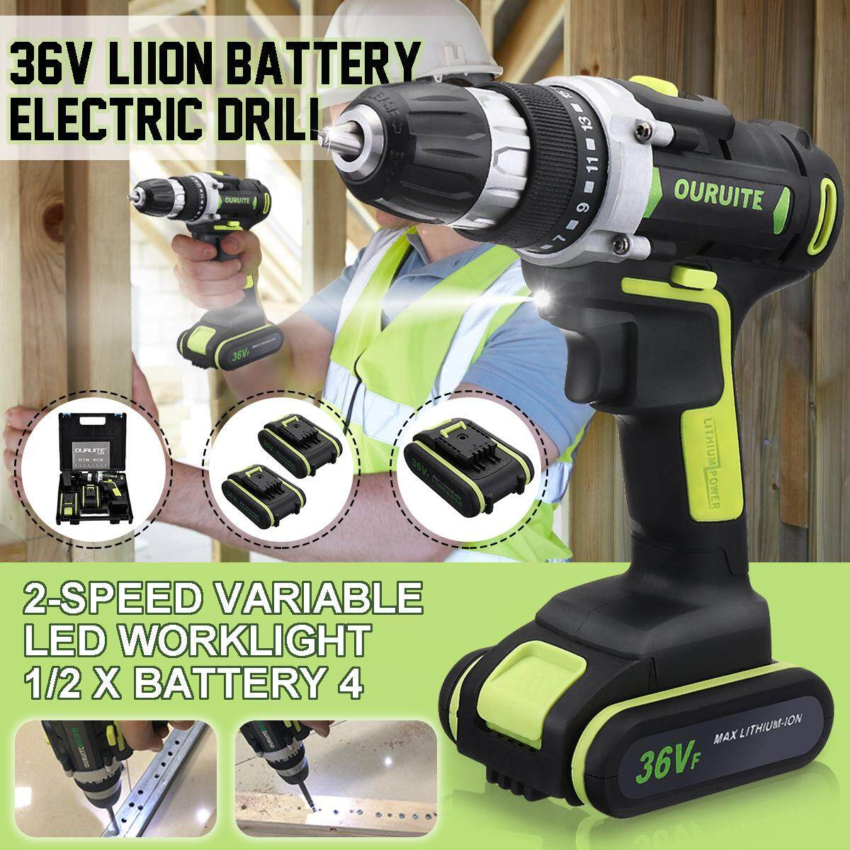 【Free Shipping + Flash Deal】36V Professional Cordless Rechargeable Wireless Electric Screwdriver Cordless Drill Hammer Drill 0.8-10mm Chuck Li-ion Battery LED Light Double Speed Power Multifunctional Household Power Tool