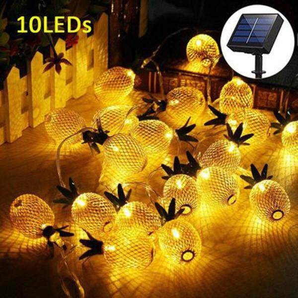 JUN TU SHOP 3.5 meter 10 LED Gold Pineapple LED Solar Light Fairy Lights Striny for Christmas, Halloween parties,Outdoor Seasonal Decorations