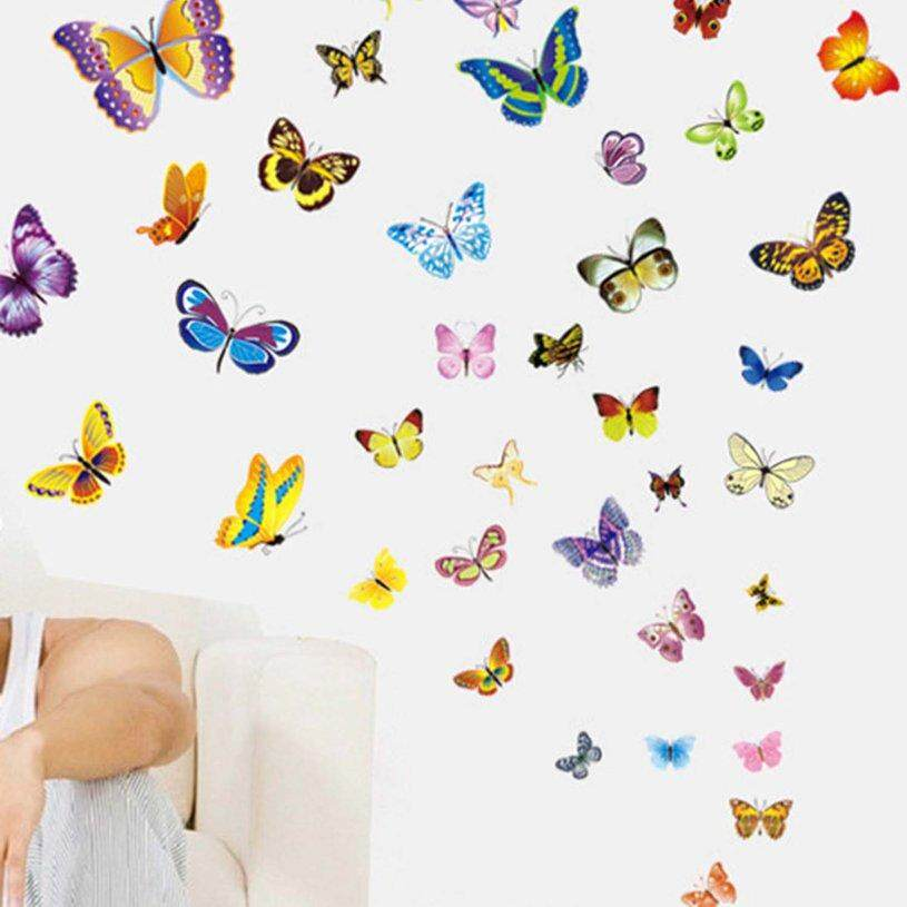 XIN 50pcs Butterfly Pattern Removable Wall Stickers Self-adhesive Wallpaper Children Bedroom Living Room Home Decoration