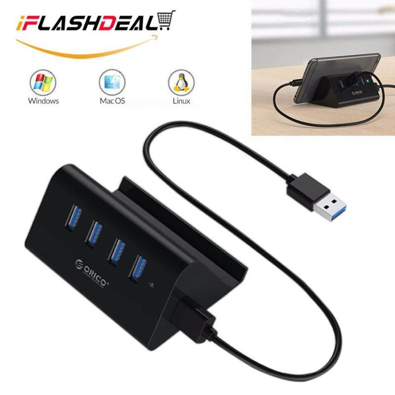 iFlashDeal USB Hub 3.0 External 4 Ports USB Splitter with Phone and Tablet Holder Micro USB Power Port for iMac Computer Laptop Accessories 5Gbps Super Speed Transmission