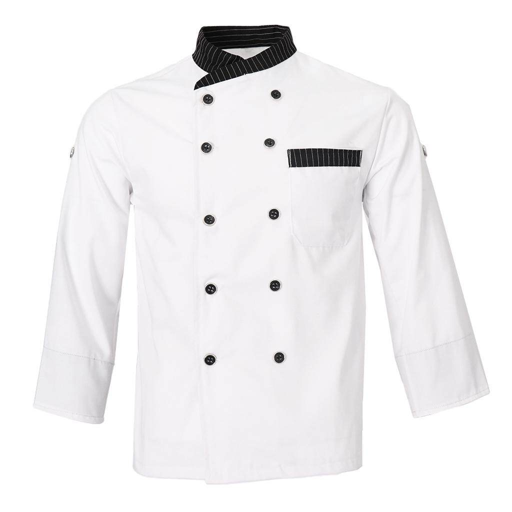 Fenteer Women Mens Chef Jacket Middle Long Sleeves Shirt Hotel Restaurant Bakery Uniform M-3XL