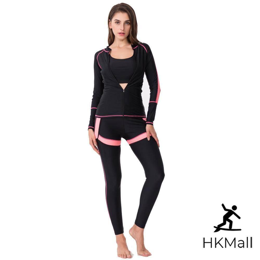 9c5dd18279 HK Mall Women Rashguard Long Sleeves Tops Long Trunks Set Three-piece  Swimsuit Long-