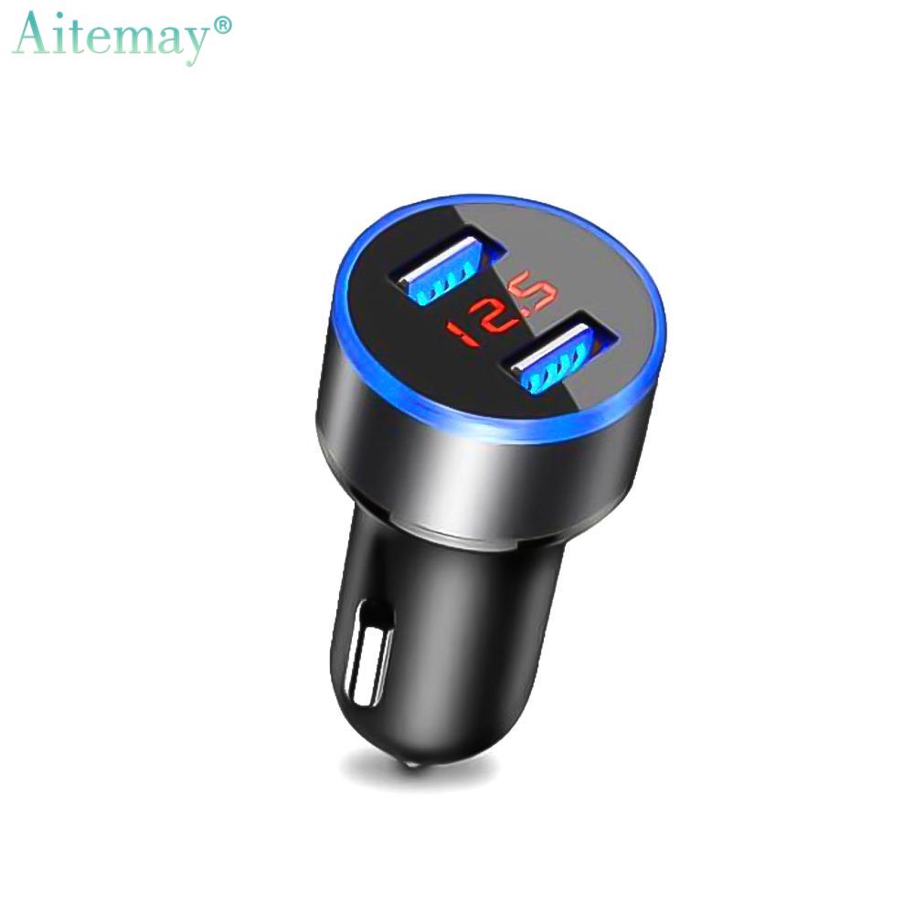 Aitemay Cổng USB Kép Sạc Điện Dùng Trên Xe Hơi 3.1A Màn Hình LCD Dòng Điện Áp Kỹ Thuật Số 12-24V Sang 5V Thiết Bị Sạc Nhanh Đầu Cắm Đánh Lửa Có Giá Cực Kỳ Tiết Kiệm
