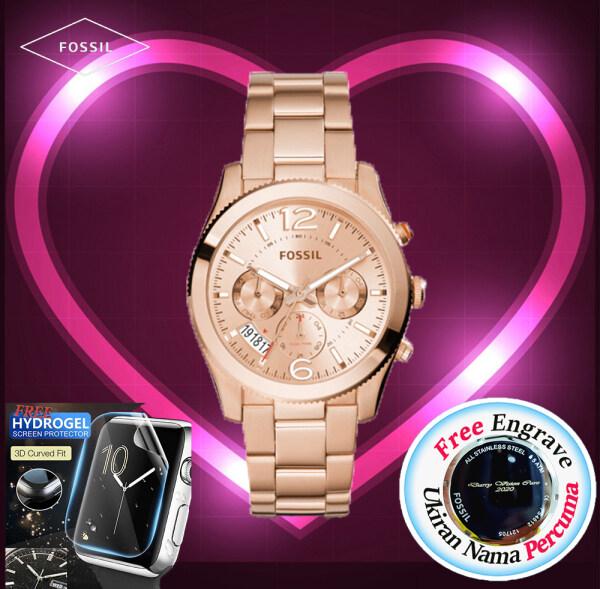 [FREE ENGRAVE]Original Fossil Womens Perfect Boyfriend Multifunction ROSE GOLD Dial 39mm Jam Tangan Wanita with 2 year warranty ES3885 Malaysia