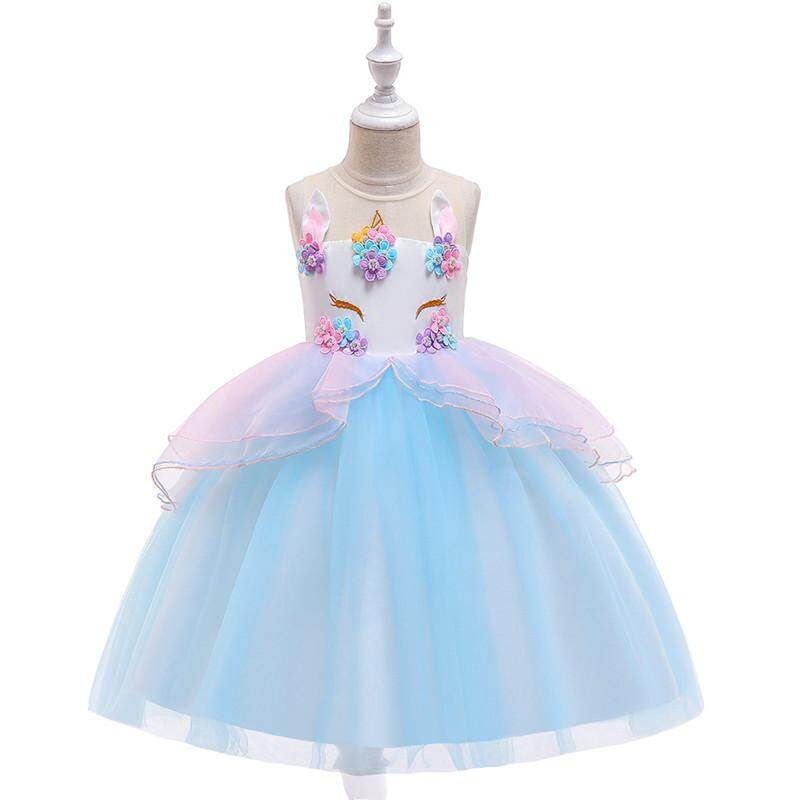 66fd6e84b3d24 2019 New Fancy Kids Dresses for Girls Unicorn Party Princess Costume  Children Girls Birthday Wedding Dress Summer Flower Girl Dresses 3-10Yrs