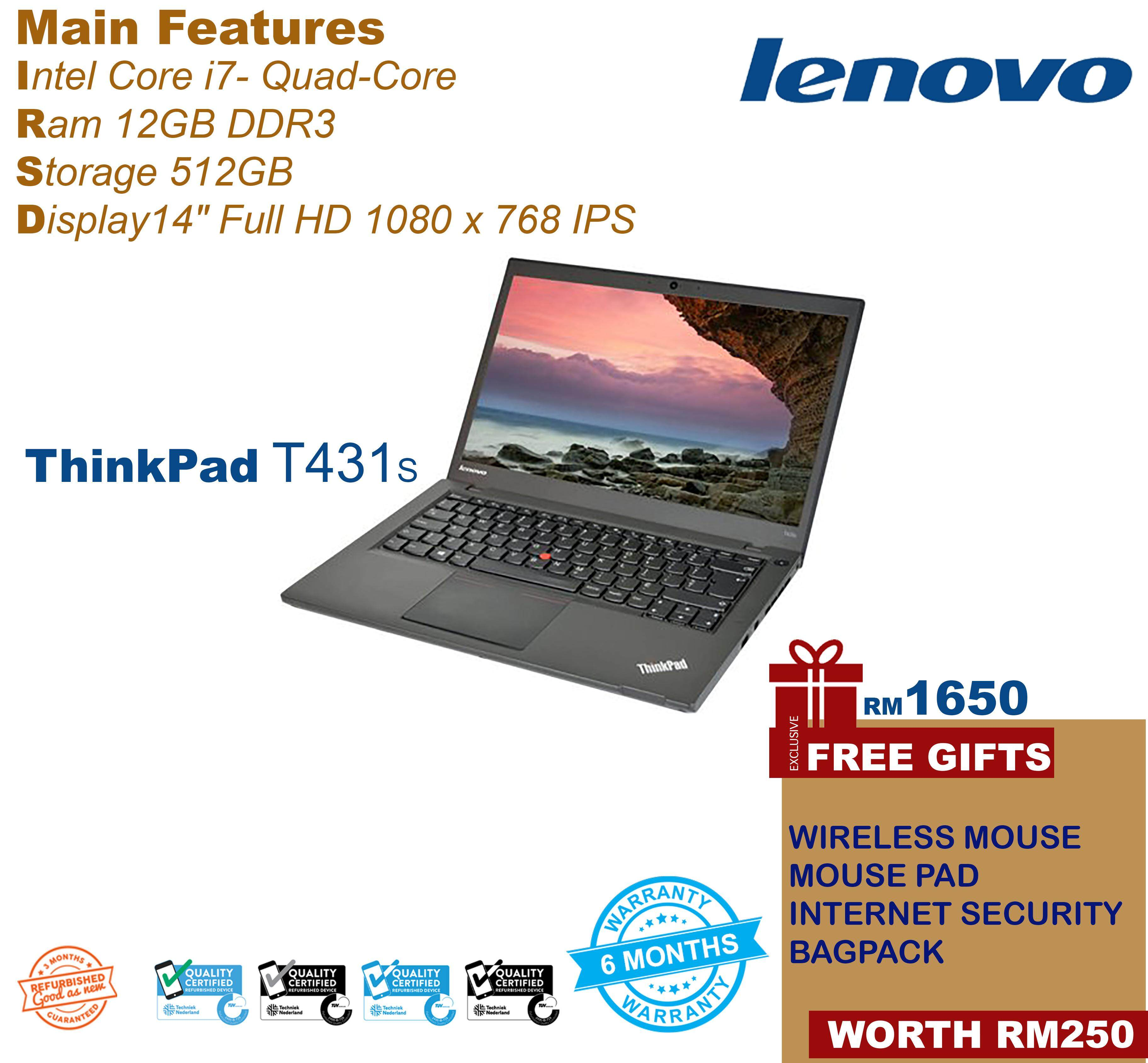 Lenovo Thinkapd T431s Slim Laptop [Core-i7 | 12GB Ram | 512GB SSD] Super Fast Suitable for Gaming with graphics card Win10 Pro Malaysia