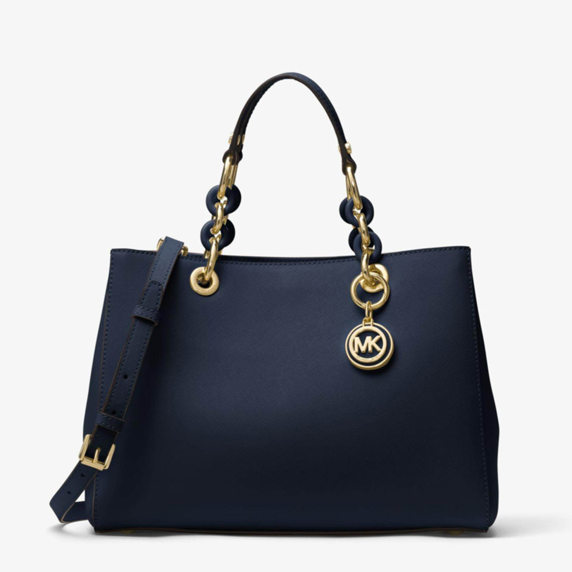 9c440f24b510 Michael Kors Cynthia Medium Saffiano Leather Satchel - Navy Blue