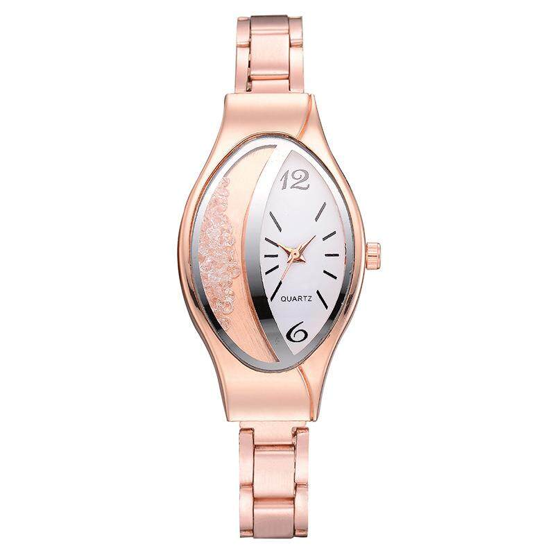 Fashion Women Wrist Watches Alloy Steel Strap Unique Crystal Oval Dial Casual Analog Quartz Watch Business Lady Watches Gift Malaysia