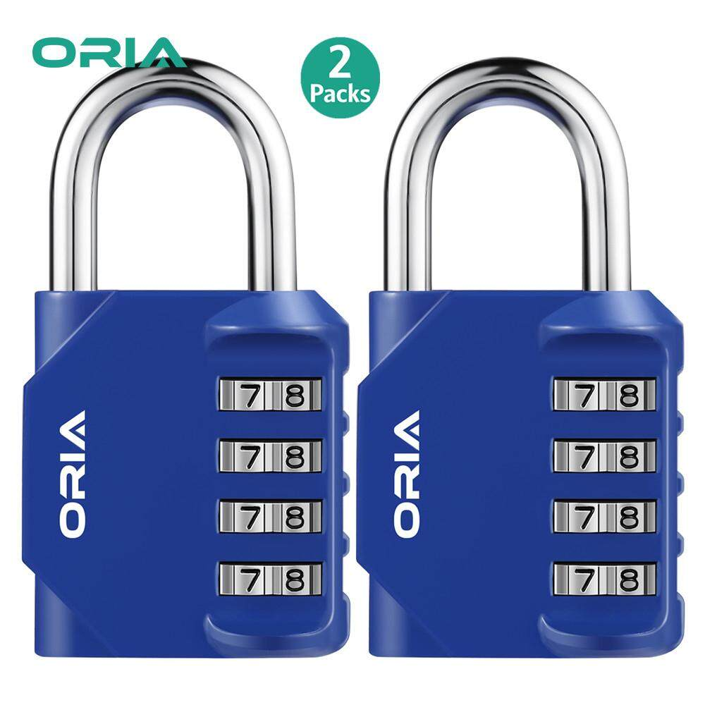 ORIA 4 Digit Combination Lock 2 Pack Padlock for School Employee Gym & Sports Locker, Case, Toolbox, Fence, Hasp Cabinet & Storage - Metal & Plated Steel