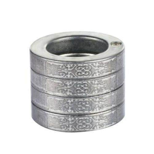 Stylish Defensive Hexagon Round Ring with Four Layer Design for Man (SILVER)