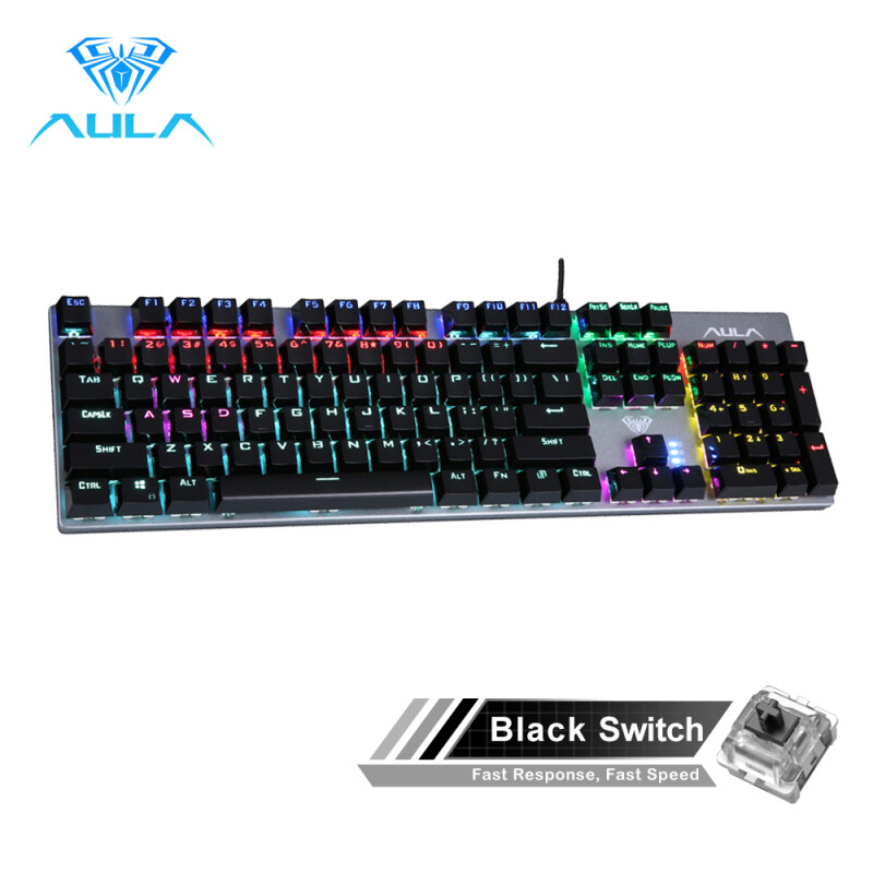 AULA F2068/S2016 Mechanical Gaming keyboard 104 Keys Anti-ghosting Marco Programming LED Backlit Keyboard Blue/Black Switch for PC Laptop Singapore