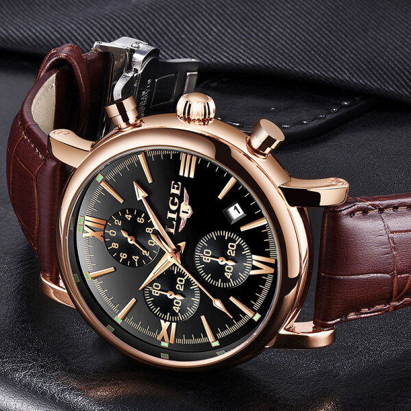 LIGE 2020 New Watch Men Fashion Quartz Sports Wristwatch Mens Casual Leather Waterproof Business Jam Tangan Lelaki Malaysia