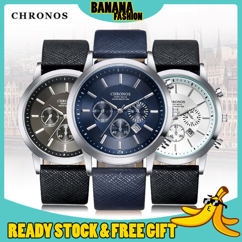 [Original] Chronos Grant Classic Calendar Leather Good Quality Chronograph Fashion Quartz Men Watch Jam Tangan Lelaki Malaysia