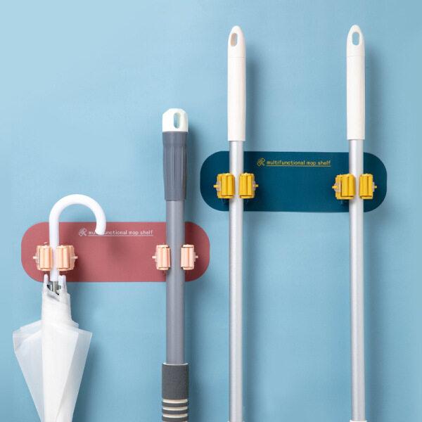 Mop Clip Double-Headed Mop Holder Mop Hook Free Punch Bathroom Hook Broom Hanger Strong Viscose Wall Hanging Mop Clip